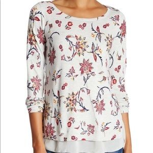 Lucky Brand Persian Park Woven Mix Floral Sweater